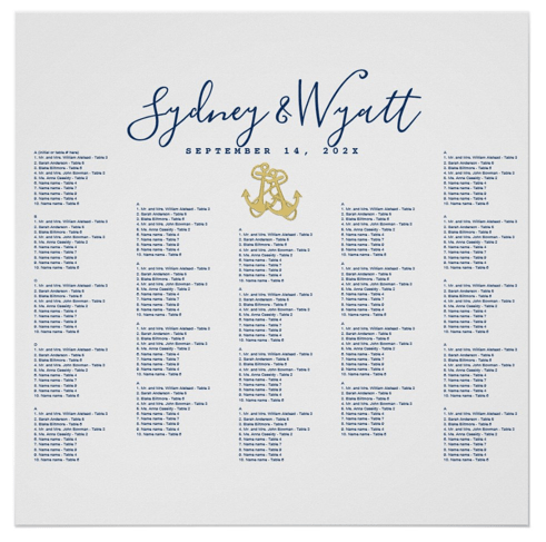 Wedding seating chart poster nautical anchors