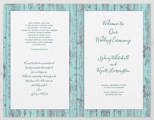 Rustic wood church program Catholic wedding folded paper