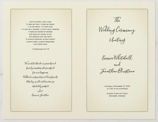 Vintage wedding program yellowed paper