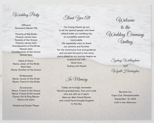 Three way folded wedding program sand dunes