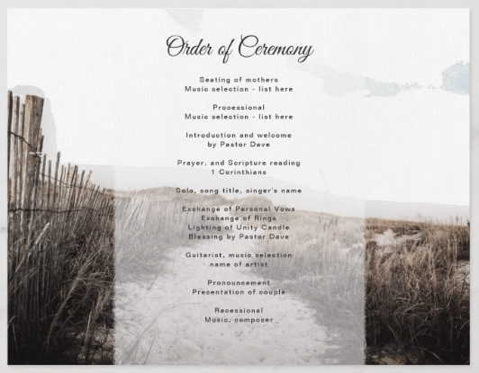 sand dunes wedding program folded in thirds