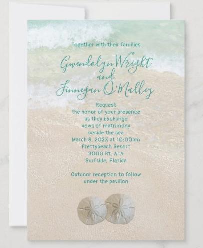 Traditional invitation wording beach wedding two sand dollars