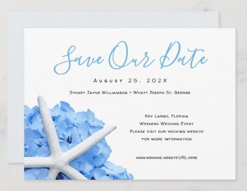 save the date wedding website seaside garden starfish blue hydrangea announcement