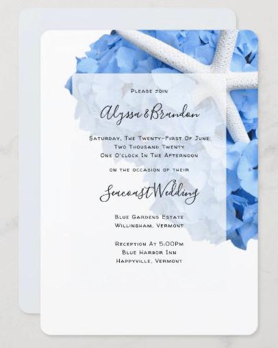 blue hydrangea starfish beach wedding casual first names wedding invitation