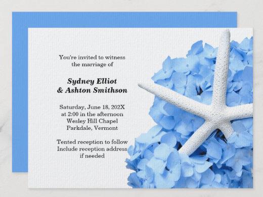 blue hydrangea seacoast wedding starfish invitation