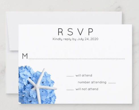 seaside garden wedding reply cards blue hydrangea flowers starfish design