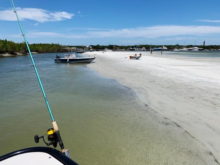 Docked at a sandy beach boating Florida