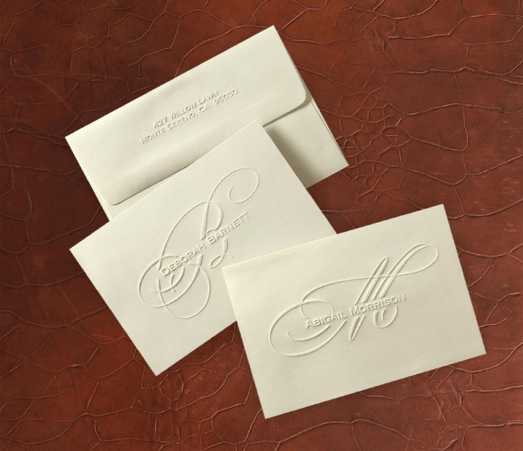 Monogrammed initial distinctive folded notes and envelopes