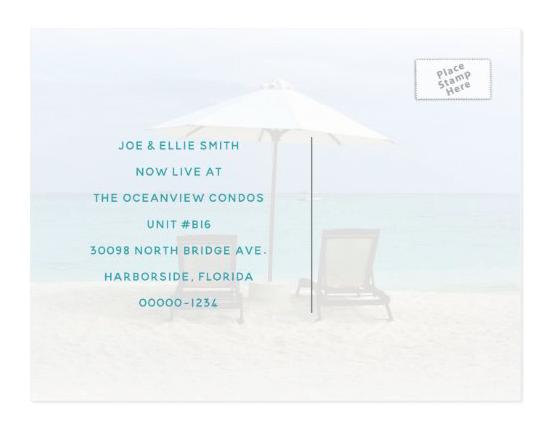 moving new address postcard beach chairs sand umbrella tropical retirement