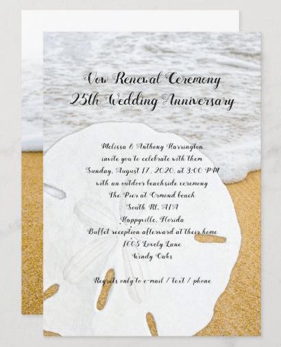 sand dollar anniversary vows beach invitation ceremony