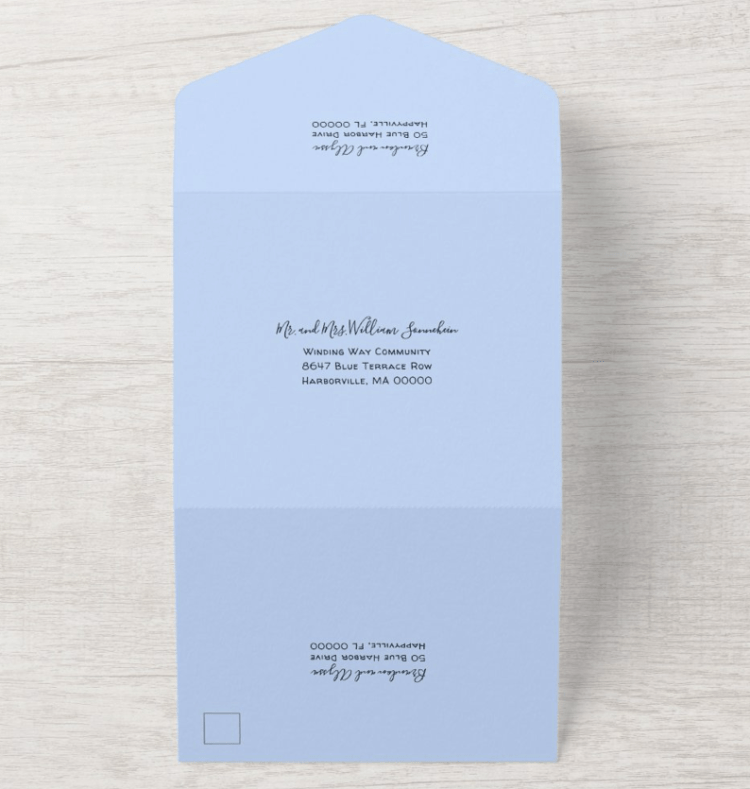 outside with address templates all-in-one wedding invitation