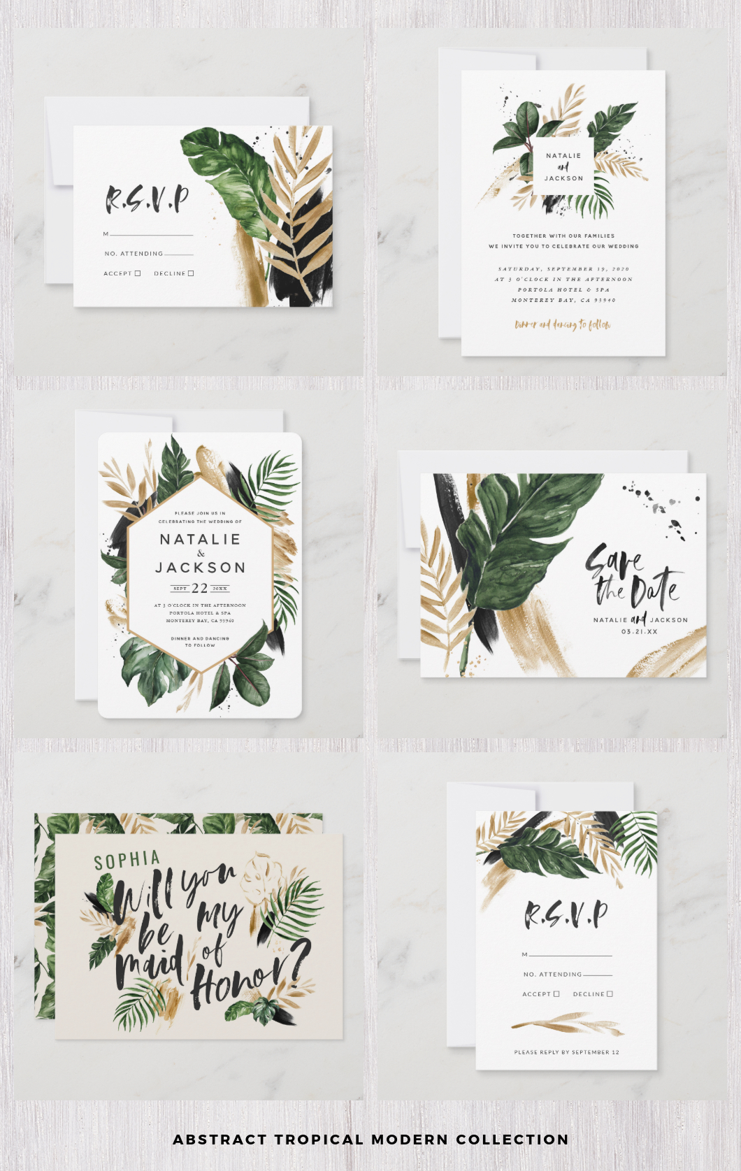 Abstract tropical wedding set leaves modern invitations