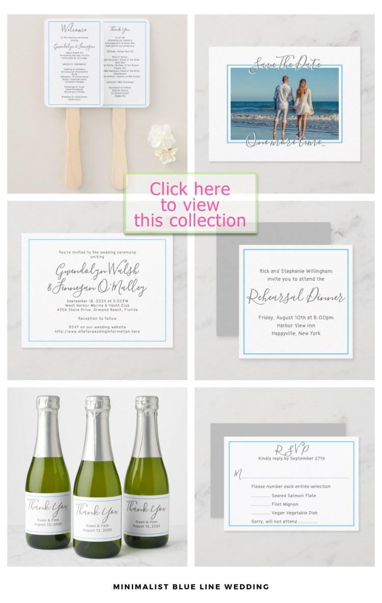 minimalist wedding set blue line white paper
