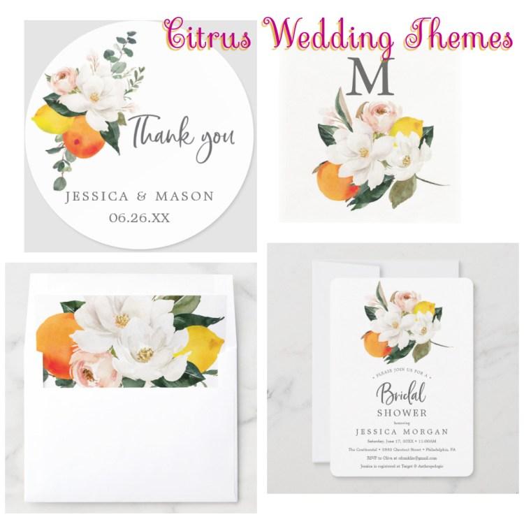 Citrus fruit tropical wedding stationery themes
