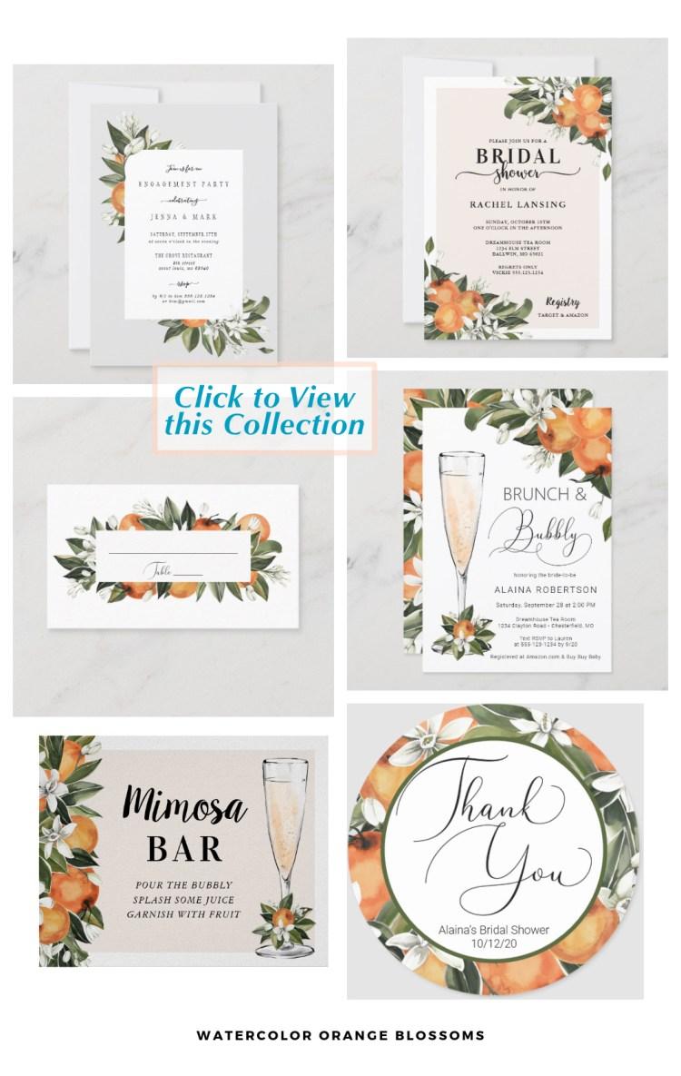 Orange blossoms wedding designer stationery citrus tropical theme for a tropical destination wedding.