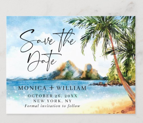 tropical palm trees save the date postcard