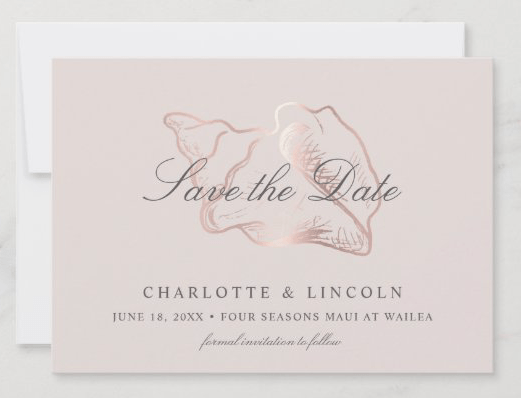 seashell save the date flat cards blush rose
