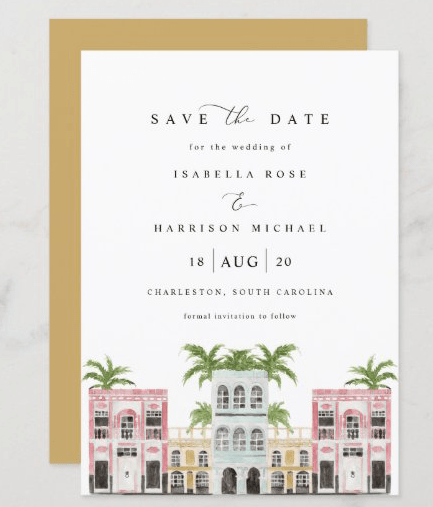 tropical charleston save the date flat cards fiona watercolor