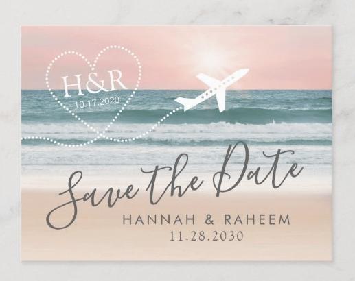 save the date beach wedding airplane destination tropics