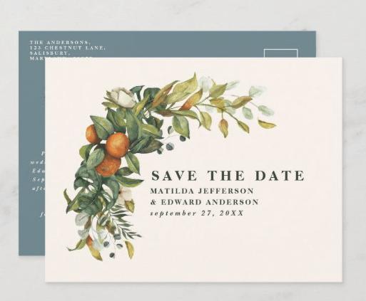 elegant citrus save the date oranges botanical postcard
