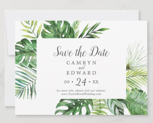 wild tropical palm save the date flat cards