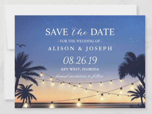 Sunset save the date string lights palm trees