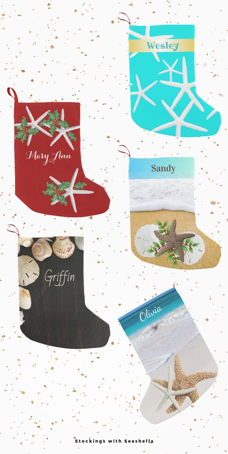 seashell Christmas stockings with names