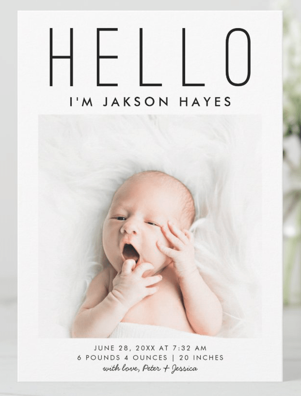 baby birth announcement white with photos