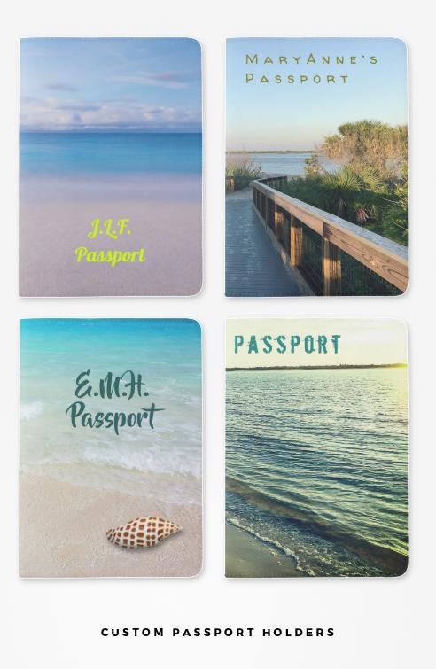 custom passport holders, ocean and beaches