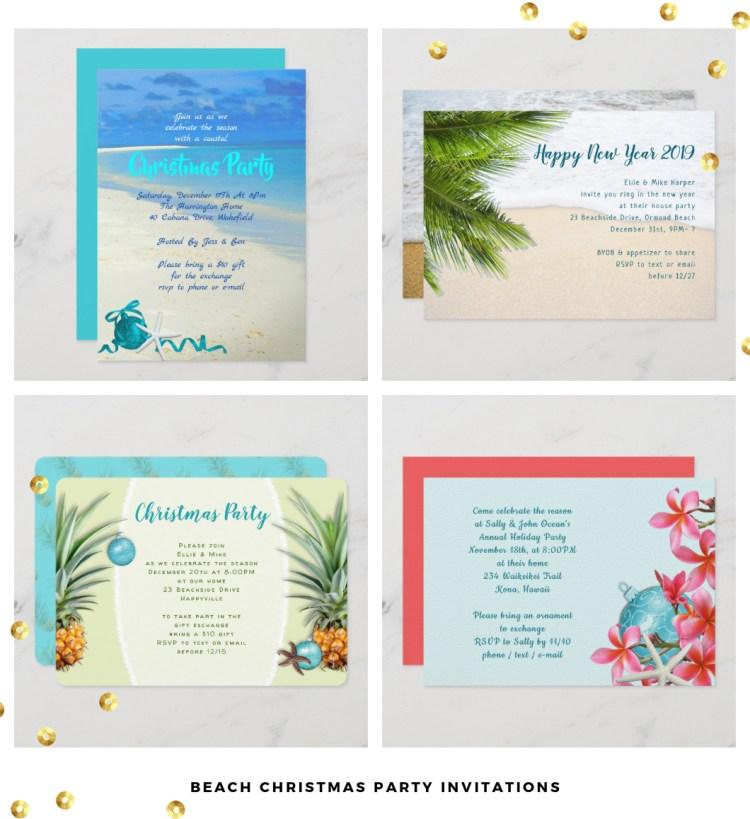 beach christmas party invitation templates
