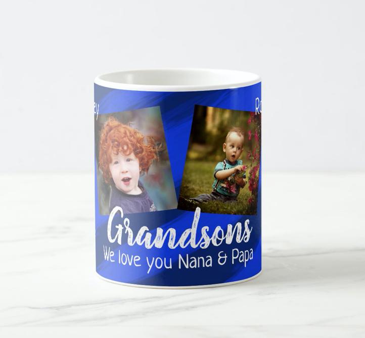 Grandparents blue coffee mug photos of grandsons
