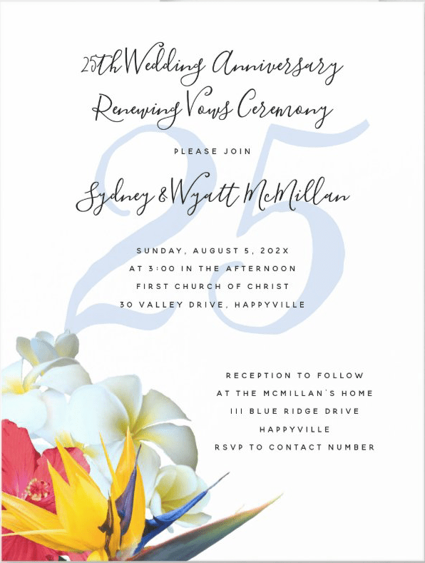 Wedding anniversary renewing vows ceremony invitation with pretty Hawaiian flowers design and year numbers behind text.