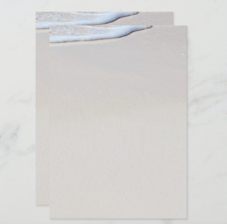 Beach sand background paper image on both sides, blank for printing your own menu, invitations, etc.