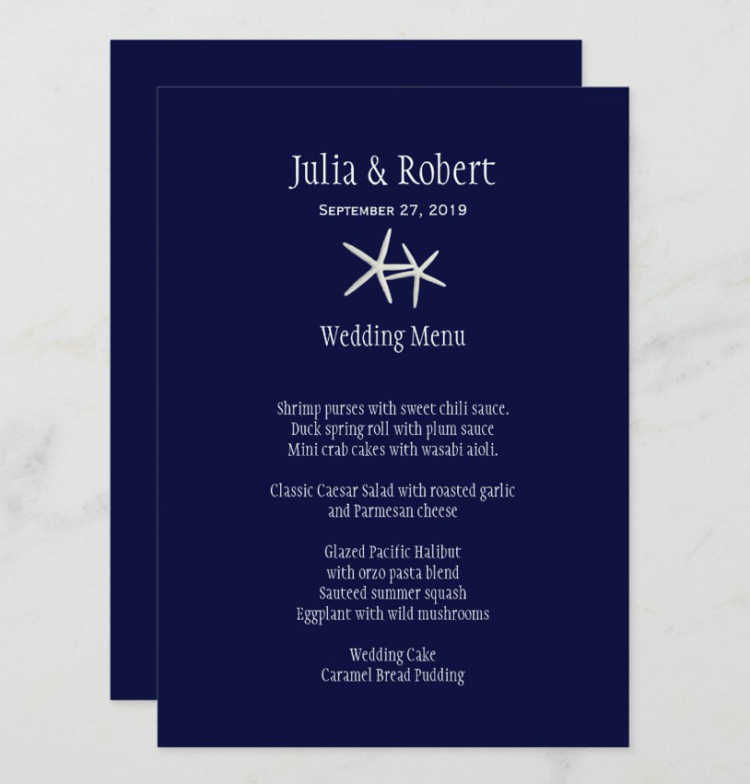 Navy blue nautical themed wedding menu with starfish and white text