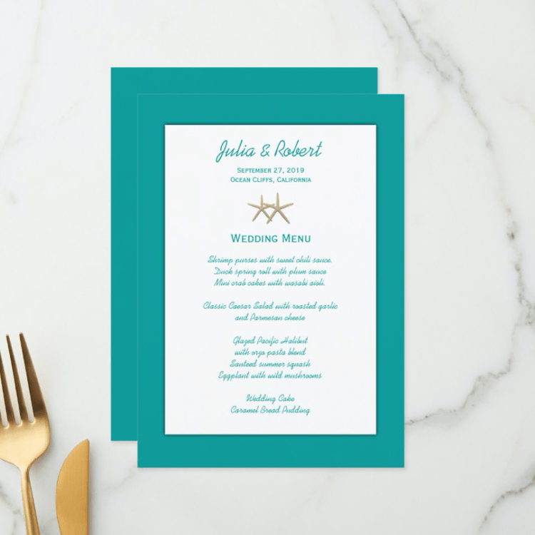 Teal blue wedding menu with two starfish and layered look.
