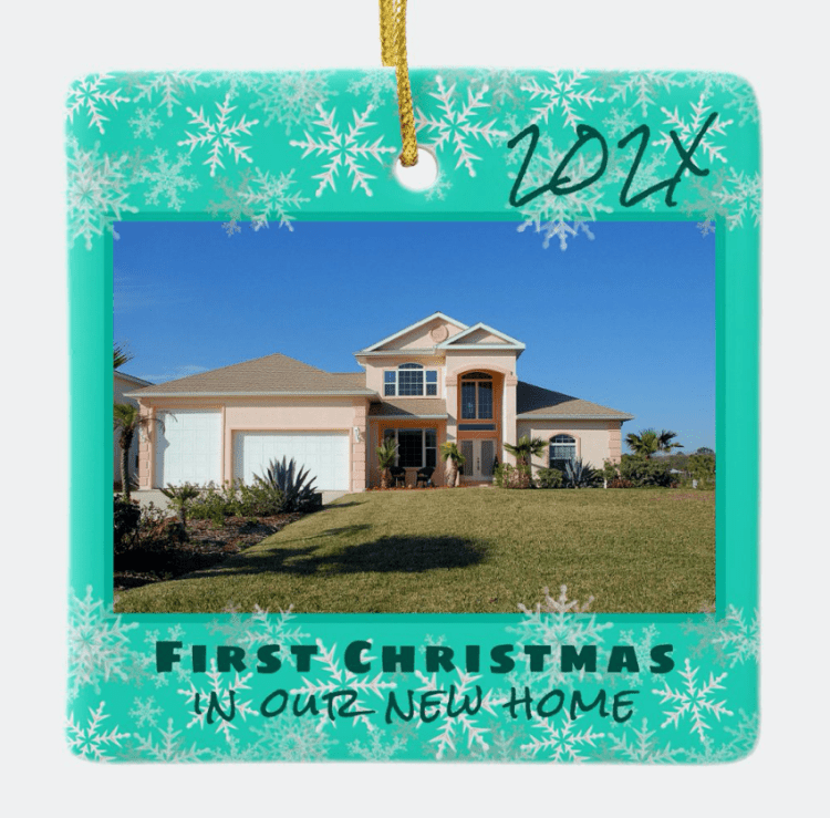 First Christmas new home turquoise snowflakes dated ornament.