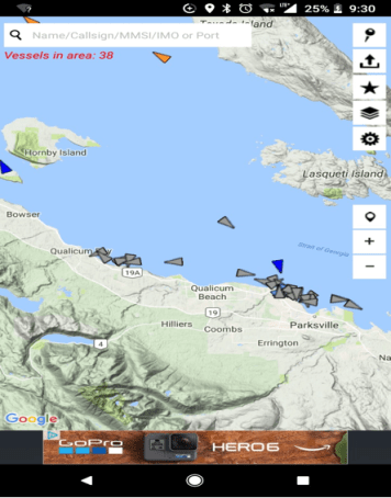 AIS Map of Fishing Vessels in the Strait go Georgia, Source: MARINETRAFFIC.COM