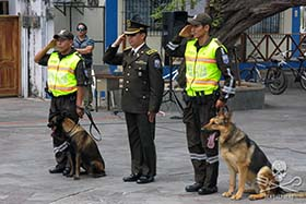 Mayor Reyes with K9 dogs Truss and Xaver. Photo: Sea Shepherd