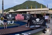 FLORIANÓPOLIS, SC, 10.09.2018 - IWC-SC - protesto durante de ongs ambientais 67ª reunião anual de Membros da IWC (International Whaling Commission) em Florianópolis nesta segunda-feira 10. (Foto: Naian Meneghetti/Brazil Photo Press/Folhapress)