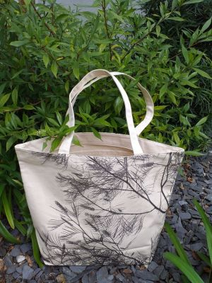 ALT825 Large Zipper Tote Natural Photos Silk Screen