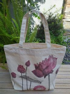 ALT906R Large Zipper Tote Natural Photos Silk Screen