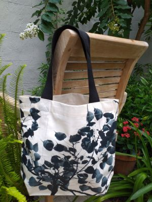 ATT637B Light Canvas Silk Screen Tote Nylon Strap