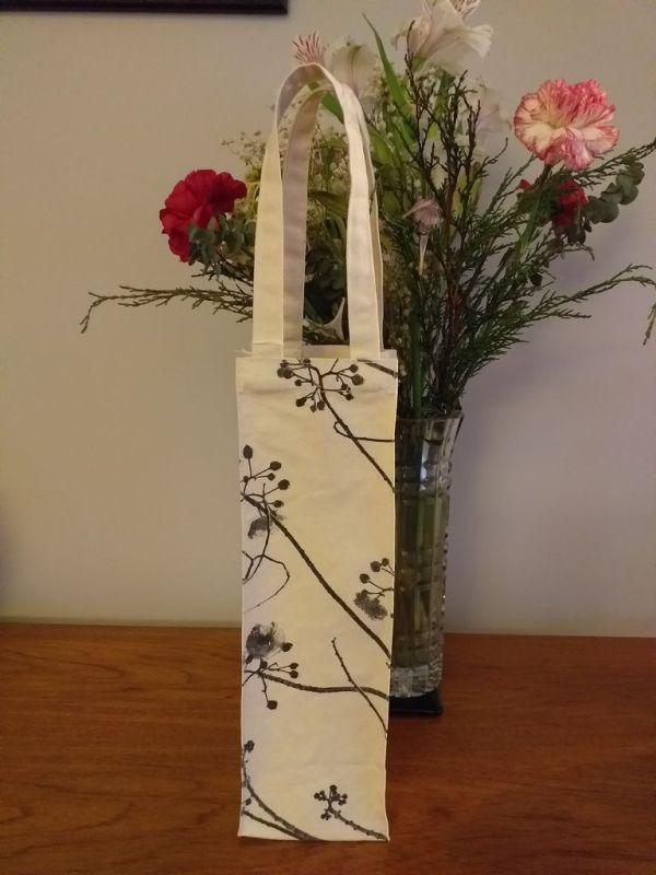 AWT854 Original Silk Screen Gift Wine Bottle Tote