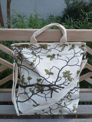AXT822G Cotton Canvas Silk Screen Cross Body Tote