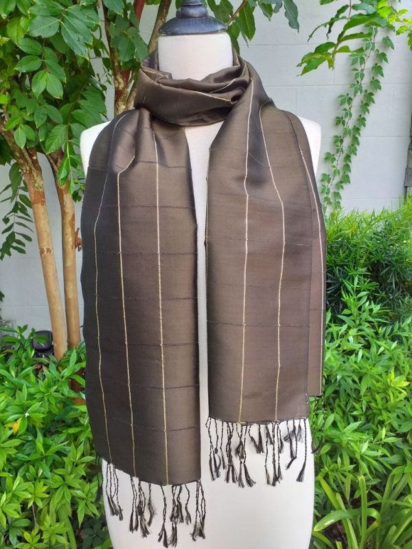 CKS558b Thai 100 Silk Hand Woven Colorful Shawl