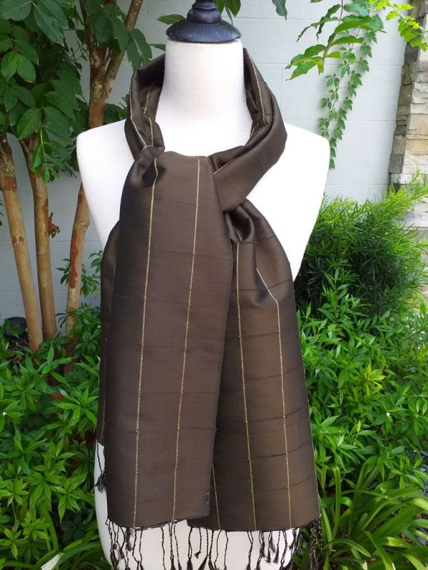 CKS558c Thai 100 Silk Hand Woven Colorful Shawl