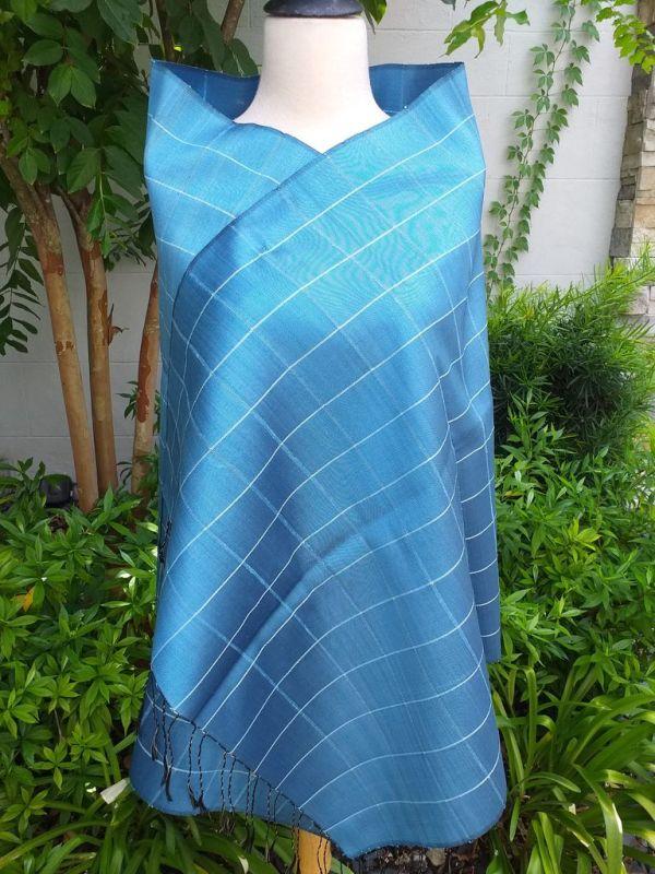 CKS561a Thai 100 Silk Hand Woven Colorful Shawl