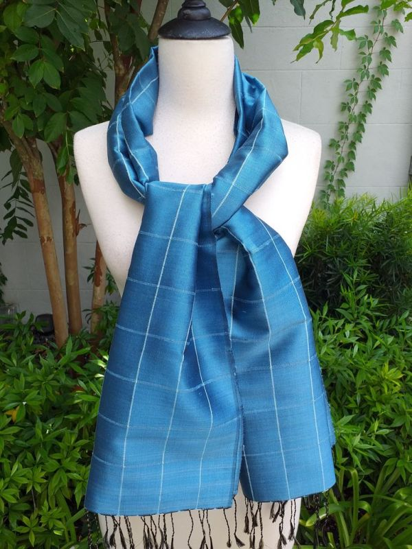 CKS561c Thai 100 Silk Hand Woven Colorful Shawl