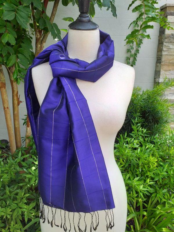 CKS563d Thai 100 Silk Hand Woven Colorful Shawl