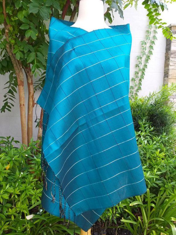 CKS565a Thai 100 Silk Hand Woven Colorful Shawl